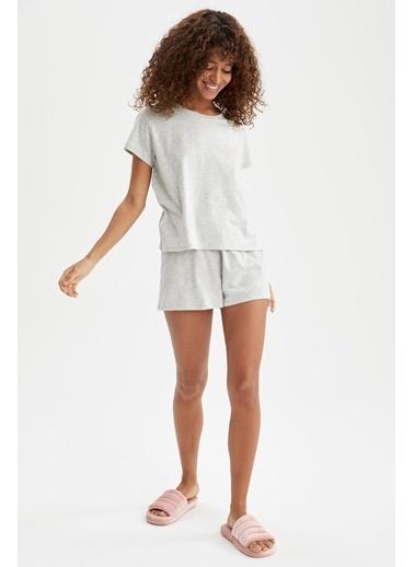 DeFacto Slogan Baskılı Relax Fit Pijama Takımı Gri